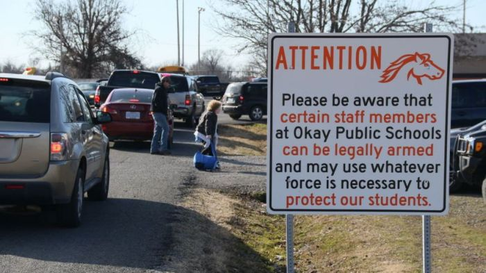 OKLAHOMA SCHOOLS SIGN: STAFF ARMED – WILL USE WHATEVER FORCE NECESSARY