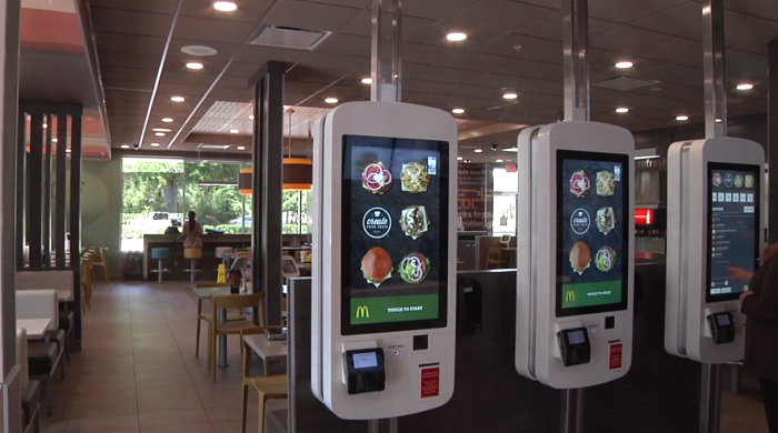 Electronic cashiers at McDonalds